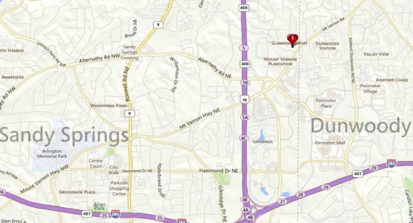 Sandy Springs Map Glenridge Ct. Community